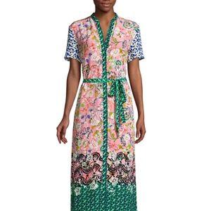 Saloni Vicki Mixed Placement Print Dress NWT